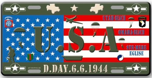 PLAQUE AMERICAINE COLLECTION 2EME GUERRE MONDIALE D DAY USA AIRBORNE