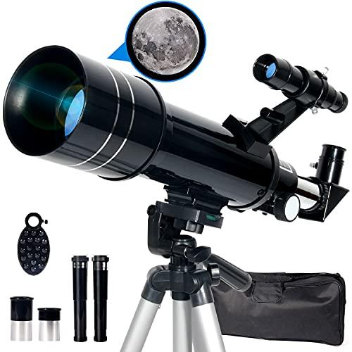 Upchase Telescopio Astronomico, Portátil y Potente Refractor Telescopio, Negro 400/70mm Zoom HD, Ajustable Trípode, Apto Adultos, Niños y Principiantes, Observer la Luna, Aves, Regalo para Niños
