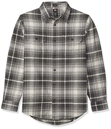 Dickies Herren Long Sleeve Heavyweight Flannel Shirt Button Down Hemd, Schieferkaro, Antik-Weiß, X-Groß