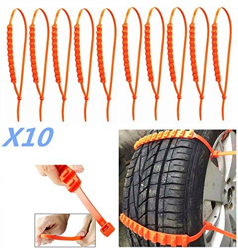Lot de 10 chaînes antidérapantes universelles pour pneus de voiture et camion Largeur de pneu 175–295