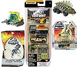 Stegos Jurassic Dino Stegosaurus World Dinosaur Vehicle Bundled with Tracker Team Collection Matchbox 5-Pack Off-Road Trucks / RV / Jeeps /SUV / Ford Explorer + Blind Bag Mini Figure 3 Items