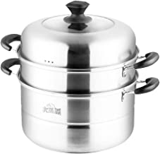 YYSM Stainless Steel 3-layer Large Steamer Steamed Steamed Bread Induction Cooker Gas Universal Pot Home (Color : Metallic)
