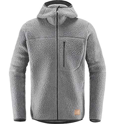 Haglöfs Fleecejacke Herren Hoodie Pile Hood Wärmend, Atmungsaktiv, Elastisch Grey Melange XL XL