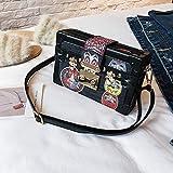 Mini Bolsos de Mujer Impresos Caja Retro Box Bag Personalidad Facebook Small Square Bag Edición Coreana Color Single Room Messenger Bag (Color : B)
