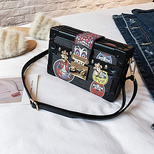 Printed Mini Damentaschen Box Retro Box Bag Persönlichkeit Facebook Small Square Bag Korean Edition Farbe Single Room Messenger Bag (Color : B)
