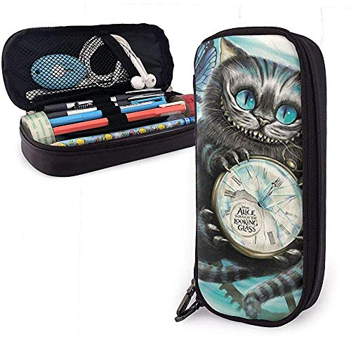 Cat Butterfly Clock Animal PU Leather Pen Pen Bag 20 * 9 * 4 cm (8X3.5X1.5 Inches) Pouch Case Holder College Coin Purse Cosmetic Bag