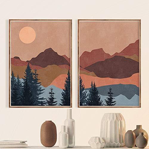 ZGZART Boho abstrakte Landschaft nordische Plakate und Drucke Terrakotta Sonne Berg Wandkunst Leinwand Malerei Linie Sonnenuntergang Kunst Bild Dekor -50x70cmx2 (kein Rahmen)