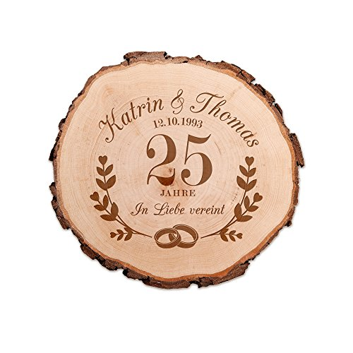 Casa Vivente Baumscheibe mit Gravur – Zur Silbernen Hochzeit – Personalisiert mit Namen und Datum – Aus Echtholz – Türschild und Wand-Deko – Geschenkidee für Paare zum 25. Hochzeitstag