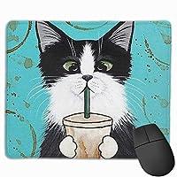 猫が飲み物を飲む マウスパッド 25×30 大判 ノンスリップ 防水 ゲーミング おしゃれ マウスの精密度を上がる