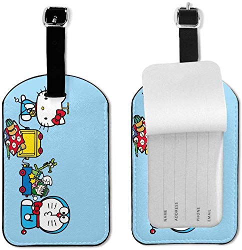 Doraemon and Hello Kitty - Etiquetas de Equipaje con Correa Ajustable de Piel para Equipaje o Maletas, Juego de Etiquetas de identificación para Viajes