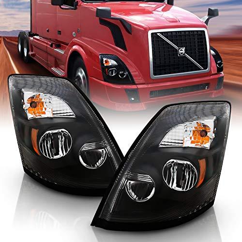 AmeriLite Black [Extreme LED High/Low Beam] 6000K Replacement Headlights Set for Volvo VNL/VNX - Driver and Passenger