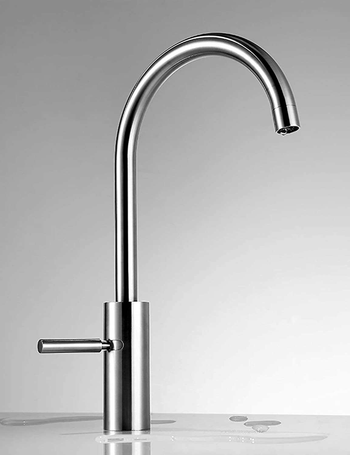 DYR Faucet European Style Household Kitchen Stainless Steel Faucet Gems Water Pots Hei? And Cold Turning Only Head