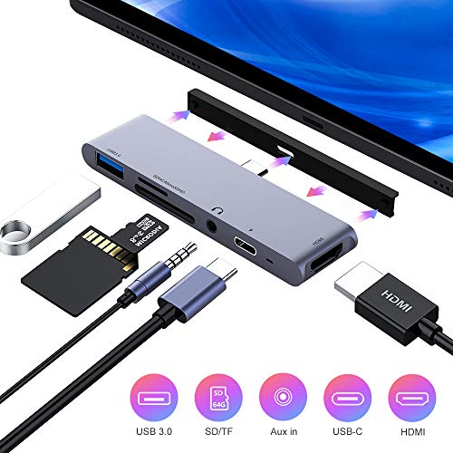 FLYLAND USB C Hub, 6 in 1 USB C to 4K HDMI Adapter with USB3.0, SD/TF Card Reader, 3.5mm Headphone Jack, PD Charging, HDMI Converter Compatible with iPad Pro 11