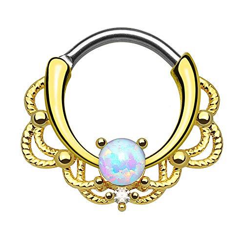HSAW Punción aurícula Pendiente de la Nariz Septum Piercing Nariz de Clicker Tribal con el Anillo de la Nariz Opal Daith joyería Piercing túneles (Color : Gold)