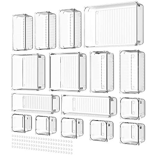 Yosemy 16stk Schubladen Veranstalter Schublade Organizer Stiftablagen Ordnungssystem 5 Größen Transparent Kunststoff Aufbewahrungsboxen mit 100stk Gummipuffer für Schminke Büro Küche Schlafzimmer