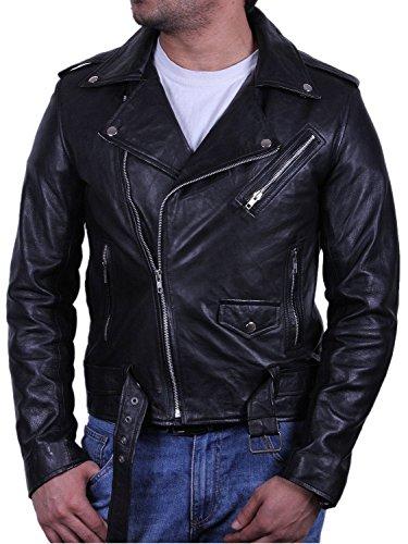 BRANDSLOCK Homme Blouson Veste d'origine Cuir Vintage Noir Large