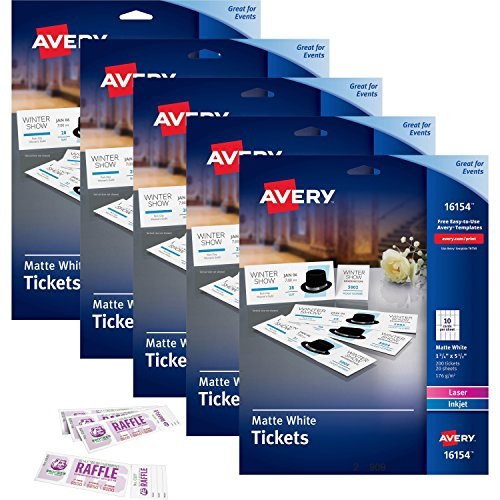 Avery Printable Tickets with Tear-Away Stubs White 1 3/4' Width x 5 1/2' Length - Laser, Inkjet - 20/Sheet - 5/Carton (16154CT)