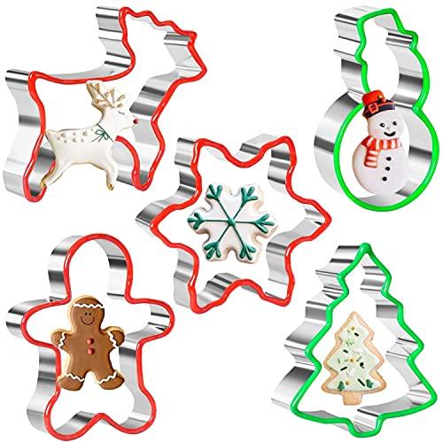 Orapink Juego de 5 cortadores de galletas de Navidad, copos de nieve, hombre de jengibre, muñeco de nieve, árbol de Navidad y forma de reno con borde de PVC suave cortadores de galletas para hornear