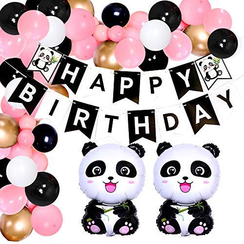 Jollyboom Pink Panda Decoraciones de cumpleaños Globo Garland Arch Kit para niñas con globos de aluminio Panda Banner de feliz cumpleaños