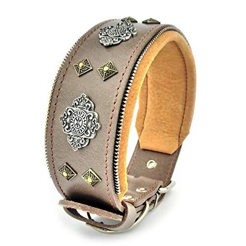 Bestia™ 'Aztec Hundehalsband für große Hunde. 100% Leder. Weich gepolstert. 6,3 cm breit. Einzigartiges Design und Qualität!