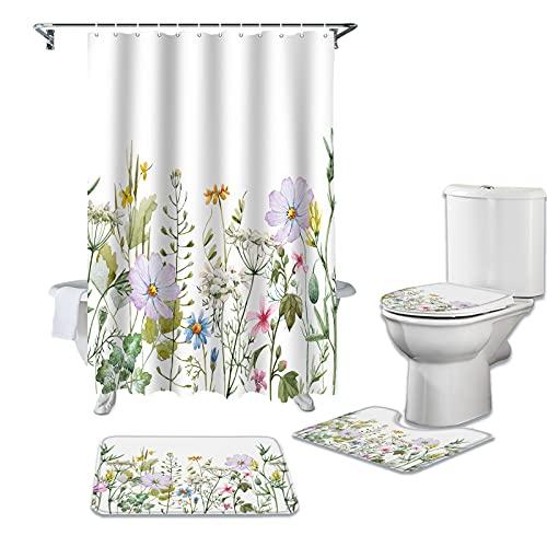 CKKHYCD 3D Duschvorhang Abdeckung Frühling Blume Vanille Wildblume Duschvorhang 4-teiliges Set Wasserdichten Duschvorhang Badezimmer Dekoration Anti-Rutsch-Teppich