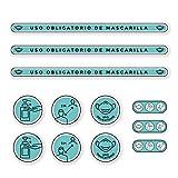 Pack Vinilos Medidas y Normas de Seguridad | Adhesivos de Medidas de Protección e Higiene para suelo o paredes | Mascarilla Obligatoria y Distancia Social (AZUL)