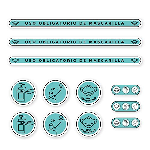 Confezione di adesivi misure e norme di sicurezza | misure di protezione e igiene per pavimenti o pareti | Maschera obbligatoria e distanza sociale (blu)