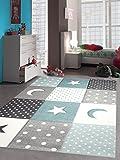 Kinderteppich Teppich Kinderzimmer Babyteppich Stern Mond in Blau Türkis Grau Creme Größe 160x230 cm