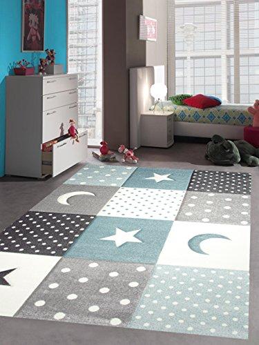 Kinderteppich Teppich Kinderzimmer Babyteppich Stern Mond in Blau Türkis Grau Creme Größe 140x200 cm