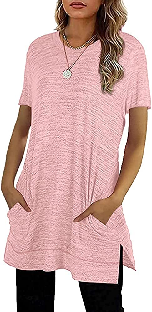 Womens Short Sleeve Crewneck Tunic Tops Summer Casual Side Split T Shirts with Pocket