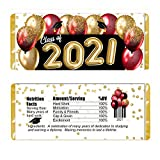 Graduation Balloons Personalized Candy Bar Wrappers for Chocolate, Hershey Bar Labels with Red and Gold Balloons, Class of 2020, Grad Party Favors, Pack of 20