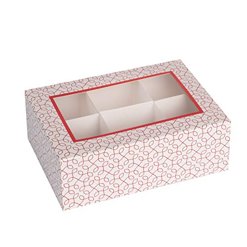Hammont Window Box with Six Sections  Red Colored Versatile Bakery Boxes Perfect for Sharing Snacks and Cookies| 6 Insert Sections Gift Boxes | 7x5x2.5 (Pack of 6)