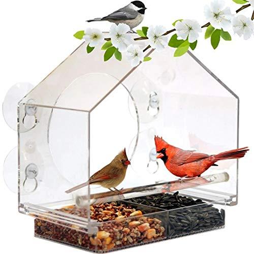 Comedero para Pájaros Alimentador de aves de la ventana de acrílico con una potente ventosa y bandeja de semillas deslizantes desmontables Comedero para Animales ( Color : Clear , Size : One size )