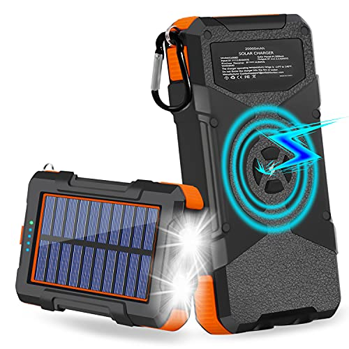 Solar Charger 20000mAh, Qi Wireless Solar Power Bank with 3 Outputs & Inputs USB Type C and 2 LED Flashlights, Waterproof Solar Panel External Battery for Cellphone, Android and More