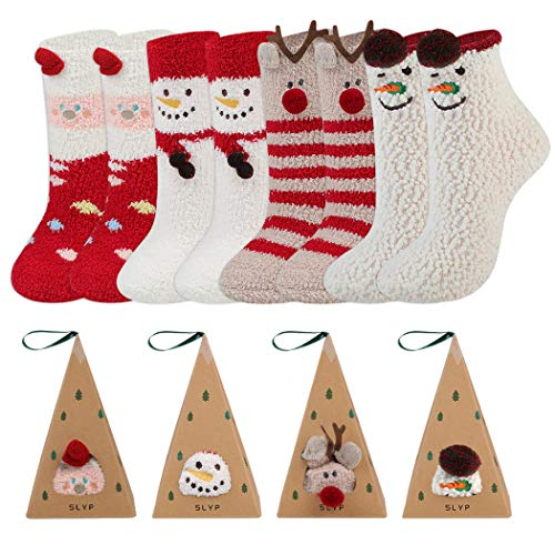 4 Pairs Fluffy Socks for Women and Girls Bed Socks Cosy...