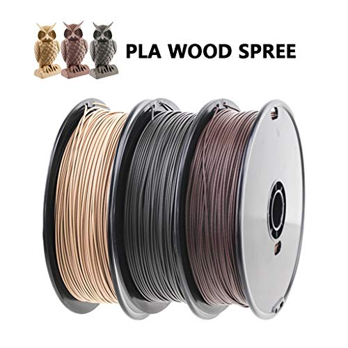 PLA Printing Filament, Pla Wood Printing Filament Combination, Yellow Wood/black Wood/brown Wood 1 Kg, for 3D Printer,1.75mm/3.0mm Optional (Size : 3.0mm)