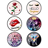 6 Pieces Cell Phone Finger Stand Holder Foldable Expanding Stand Holder Women Lip Phone Grip Socket Holder Kickstand Grip for Smartphone and Tablets