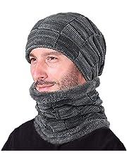 Lecoon Set de Bufanda y Gorro para Hombre Mujer de Polar Gorro y Bufanda de Punto Invierno Hombre Sombrero de Esquí Beanie con Bufanda para Hombre Mujer Cálido