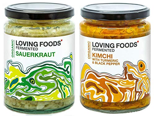 Loving Foods Award-Winning *Certified Organic* Sauerkraut & Kimchi with Turmeric and Black Pepper (2 x 500g) Raw, Unpasteurised & Bursting with Beneficial Live Bacteria (2 x Jars)