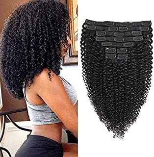 Rolisy Kinkys Curly Clip in Hair Extensions Afro 3C 4A Kinky Curly Clip ins Real 8A..