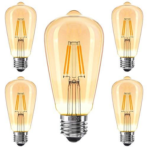 MyEUSSN Lot de 5 ampoules LED Edison vintage à 360° Grand angle 4 W (équivalent 40 W) E27 à filament antique 300 lm 220V-240 V 2700 K Ambre Blanc chaud Rétro Lumière [Classe énergétique A++]