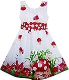 Vestido para niña Mushroom Flor Césped Impresión Polka Dot Cinturón Rojo 7 años