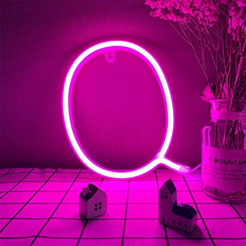 LED LIRTURAS DE NEON DE LED 26 Letras de letras del alfabeto Lámparas de iluminación de la letra Q Signo de la pared de la pared Rosa/Decoración de la mesa USB/Batería Powered Night Lights para l