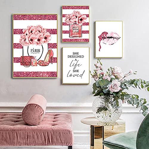 ZYQYQ Cuadros Decoración Lienzo Mural Obra de arte Flor rosa Perfume Póster Pestañas Labios Maquillaje Impresión Pintura Imagen Habitación de niña moderna del hogar 30x45cmx3 50x75cm Sin marco