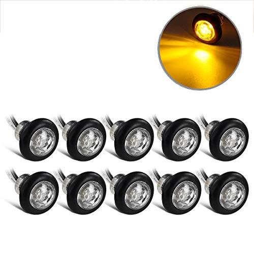 10X Amber LED Side Marker Lights for Truck Trailer Camper Clearance Waterproof