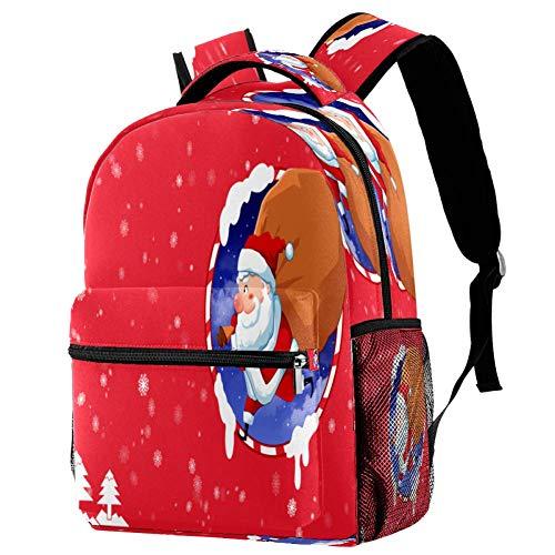 Babbo Natale Rein Cervo Cartoon Zaino Scuola Zaino Libro Borsa Casual Daypack per Viaggi, Motivo 3 (Multicolore) - bbackpacks004