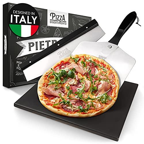 Pizza Divertimento - Pietra pizza per forno e grill a gas - Con cursore per pizza e taglia pizza - Pietra pizza in cordierite - Pizza Stone base croccante.