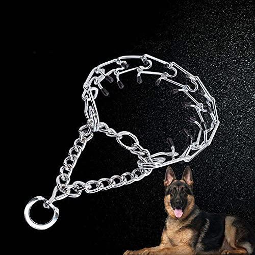 Collar de adiestramiento para perros, eslabones de acero inoxidable ajustables de 4 mm con puntas de goma, 23 pulgadas de largo, ideal para perros pequeños y medianos.