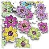 DZJUKD Accesorios de Vestir Mix Flores Flores NIÑO NIÑO Botones de Madera Costura de Regalos para Decoraciones artesanales de Bricolaje (Color : 100 pcs)