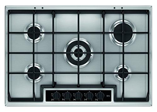 AEG HG755450SY Einbaukochfeld / autarkes Gaskochfeld mit 5 Kochstellen, inkl. Wok-Kochstelle / Edelstahl-Design mit abnehmbaren Topfträgern / silberfarben & schwarz